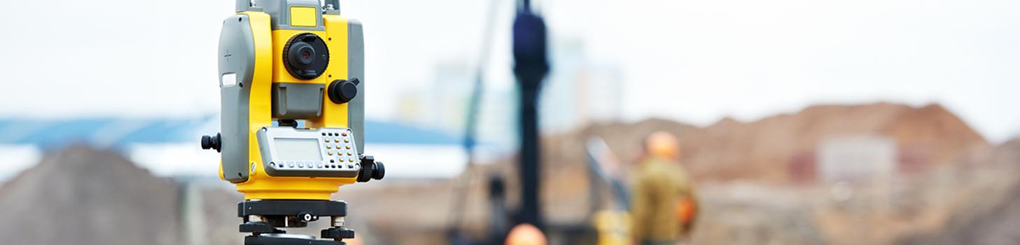 Surveying camera at a construction site