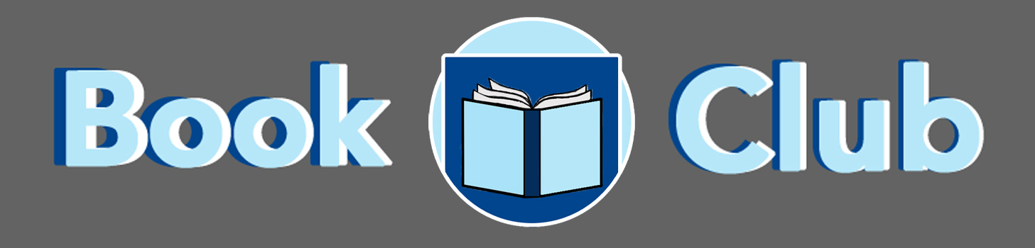 Book Club Logo: Book, separated with a circle with book cover in it, Club