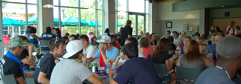 New students at lunch during orientation
