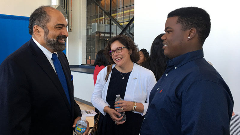 Jalen Ledbetter and Jacqueline Edmondson talk with Chair Franco Harris at The Pittsburgh Promise event on Sept. 27 at the Energy Innovation Center in Pittsburgh.