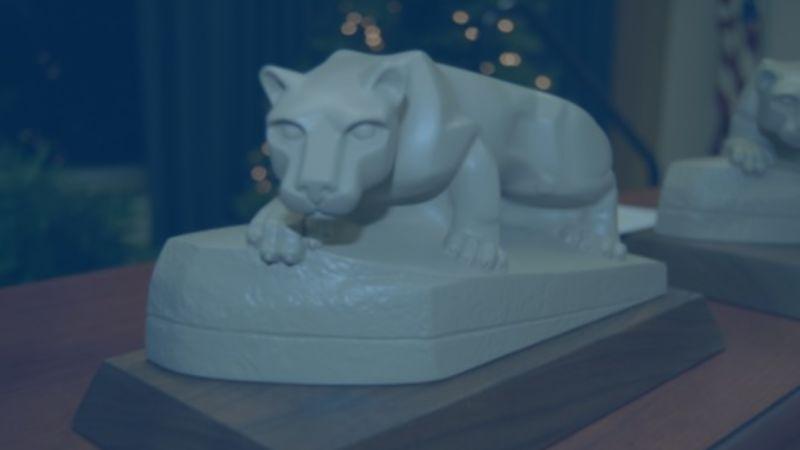 blue lion statue