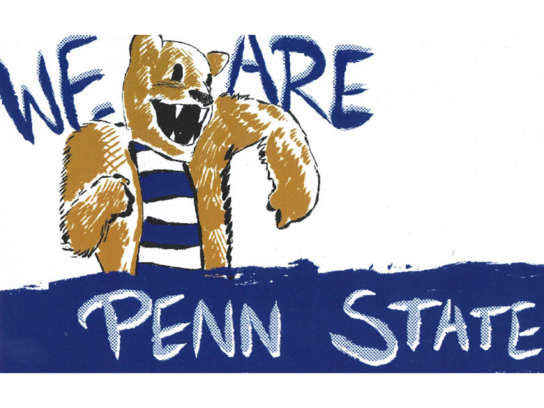 WE ARE Penn State with a drawing of the lion mascot