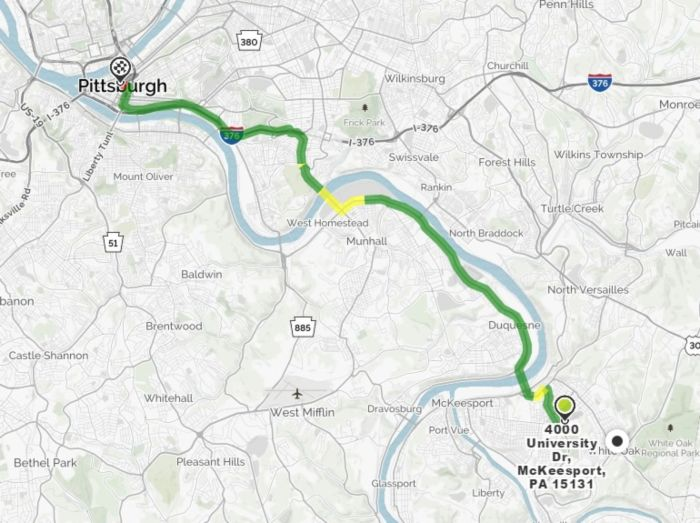 map from Mckeesport to Pittsburgh