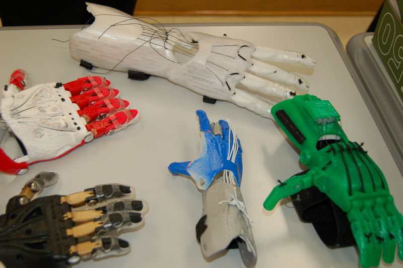 prosthetic hands on table