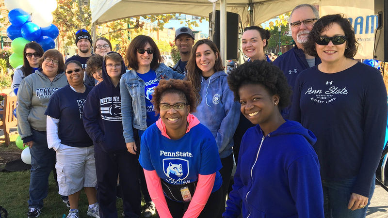 Before the NAMIWalks 5K, the Greater Allegheny campus team stopped for a photo. Pictured: Back row: Erin Kendall, Steven Hayes, Payton Burnsworth, Marino Swanson, Natalie DiGuillo, Michael Edmondson. Center row: Barbara Kendall, Camille Mickle, Winter Holmes, Jackson Buchko, Elizabeth Mazur, Livia Bodner, Jacqueline Edmondson. Front row: Melissa Turner, Ke'ira Williams.