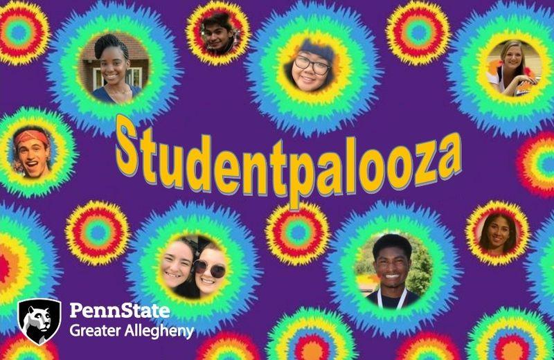 students smiling on tye dye background