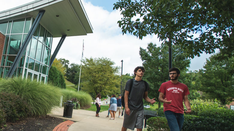 students walking on Penn State Greater Allegheny campus