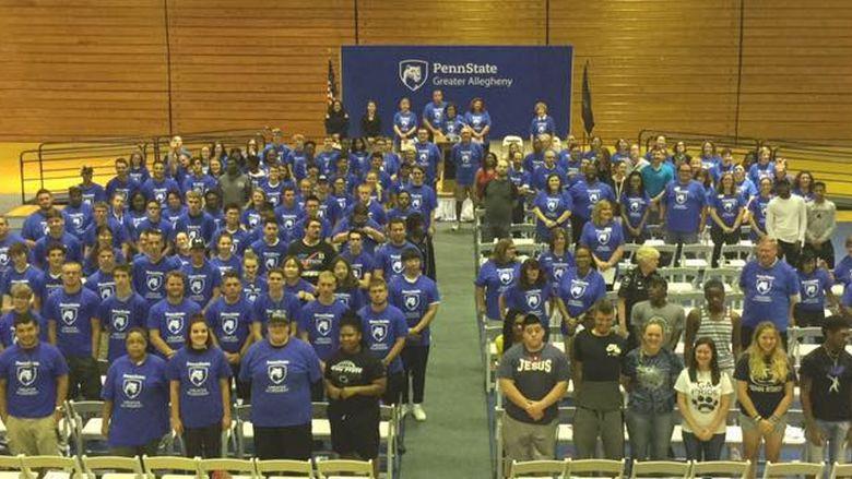 students in gymnasium