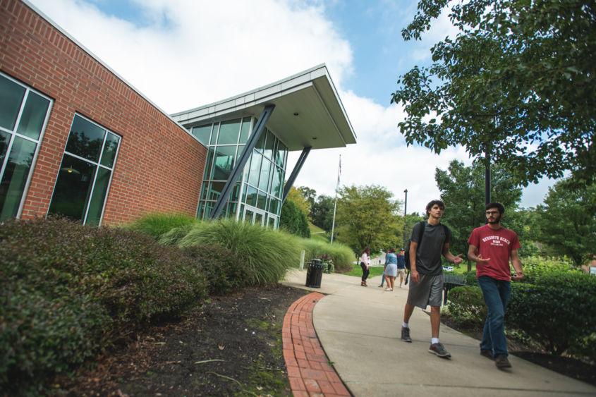 students walking on the Penn State Greater Allegheny campus